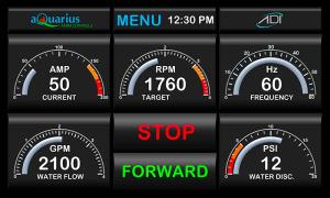 Aquarius electric pump control screen